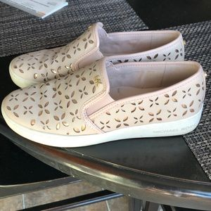 Pink and rose gold slip on sneakers